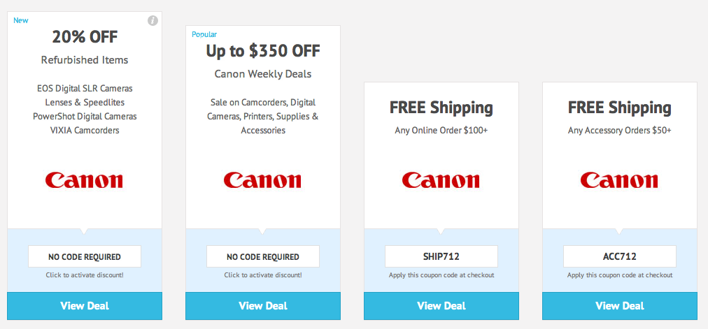 Canon Promo Codes All Active Canon Coupons & Promo Codes - Up To 25% off in December If you are looking for a high-quality digital camera at an amazingly affordable price, you should definitely pay a visit to the Canon online store.