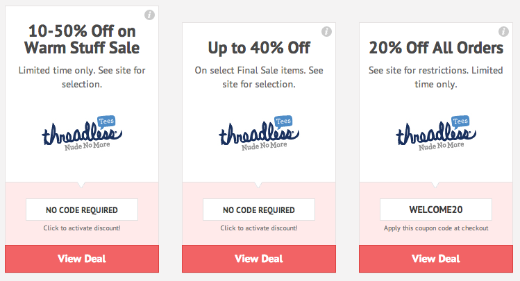 How to Use a Promo Code at Threadless. When you view your shopping cart, you'll see a field in which you can enter a discount code. It will have the words