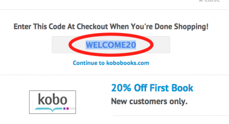 Kobo coupon codes by couponpal valid june 2018 if you chose a coupon with a code a window will pop up and show the complete kobo promo code highlight and copy the code so that you can use it during fandeluxe Gallery