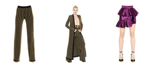 BALMAIN BELTED STRIPED LUREX KNIT CARDIGAN